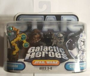 STAR WARS GALACTIC HEROES CHEWBACCA + CLONE TROOPER TWIN PACK REVENGE OF SITH