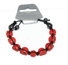 Skull bracelet red stone beads with cotton cord fastening adjustable