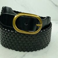 Ann Taylor Loft Wide Braided Woven Black Leather Belt Size Small