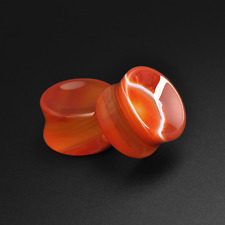 Red Striped Agate Concave Stone Plugs | Double Flare | Ear Plug |  6mm - 25mm