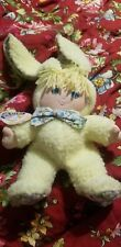 "Vintage 1987 Yellow Dolly Mine Easter Bunny Rabbit Plush Doll 15"" Cloth Flower"