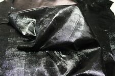 Italian strong goatskin leather skins skin PATENT BLACK REPTILE EMBOSSED 9sqf