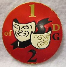 RARE Comedy and Tragedy Red Background White Masks Black Ribbon 1 of 2 DG POG
