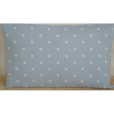 """20""""x12"""" Oblong Bolster Cushion Cover Baby Blue and White Polka Dot Nursery Dots"""
