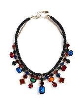 NWT Guess Gold Metal-Black Cording Colorful Faux Gem Stones Statement Necklace