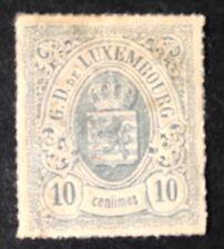 Timbre Luxembourg, n°17, 10c Bleu, TB, x, cote 150e.