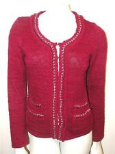 WHITE HOUSE BLACK MARKET~SHIMMERY~SILVER CHAINS~ROPE TRIM~CARDIGAN SWEATER~S~HTF
