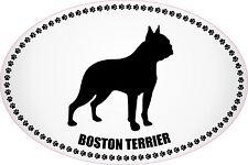 """BOSTON TERRIER EURO STYLE BLACK & WHITE PAW PRINTS DOG 4"""" X 6"""" STICKER"""