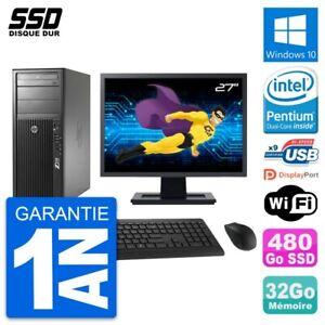"PC Tour HP Z210 Ecran 27"" Intel Pentium G630 RAM 32Go SSD 480Go Windows 10 Wifi"