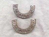Original WW1/WW2 British Army Worcestershire Regiment Brass Shoulder Titles