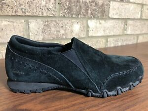 Skechers Black Suede Leather Loafers Relaxed Fit Memory Foam Shoes Women's 7