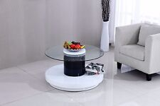 Rotante 360° Rotatable Round H-Gloss Coffee Table with Clear Tempered Glass Top