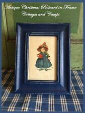 Vintage Christmas Little Victorian Girl K Antique Postcard Prim Blue Wood Frame