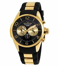 NEW Aquaswiss TR805003 Mens Trax Watch Five Hands Black Gold Stainless Steel WR