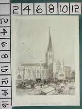 c1815 ANTIQUE PRINT ~ CHESTERFIELD CHURCH ~ RADCLYFFE