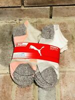 PUMA WOMEN'S SOCKS 8 PAIR COOL CELL Athletic Socks No Show White Peach NIP Lasts