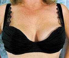 AUBADE FRENCH DESIGNER BLACK RUCHED CUPS AND WINGS LACY STRAPS BRA 36D NWOT