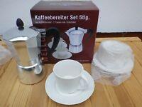 Kaffeebereiter 5teilig Aluminium mit Tassen Wellco van Well wa01