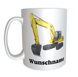 Tasse Kaffeetasse Bagger Baggerfahrer mit Wunschname  Geschenk Baumaschine