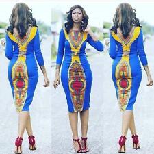 Womens Summer African Print Dashiki Dress Bodycon Sundress Tranditional Dresses
