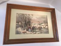 Vintage Rare Artwork WINTER PASTIME by Fanny Palmer, Del., N. Currier Lithograph