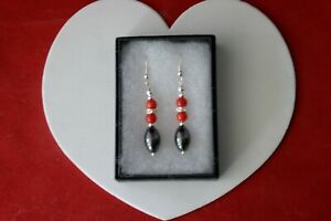 Beautiful Earrings With Hemotite Coral And Diamantino 8.7 Gr. 4 Cm Long + Hooks