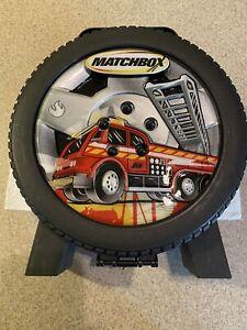 Tara Toy Corp Plastic Matchbox Fire Truck Car Carrying Case Tire Shaped Mattel