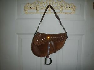 Vintage Christian Dior Leather Crystal Saddle Bag Limited Edition #0277