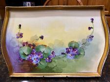 Vintage La Seynie P.P. Limoges France Purple & Gold Violet Vanity Tray