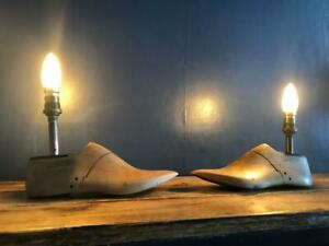 STUNNING VINTAGE WOODEN SHOE LAST TABLE LAMPS BEDSIDE LAMPS