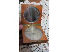 Antique Pocket Compass with Wood Case and Stand up Pin ? Unmarked
