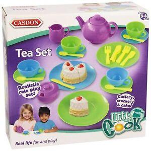 Children Play Tea Set Kids Toy Breakfast Kitchen Food Skills Pretend Cook Casdon
