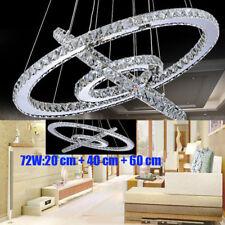 Modern LED 3-Ring Dimmbar Decken Pendelleuchte Kronleuchter Kristall Wohnzimmer