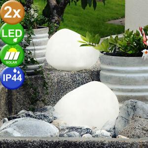 2er Set LED Solar Stein Design Leuchten Garten Weg Beleuchtungen Außen Lampen