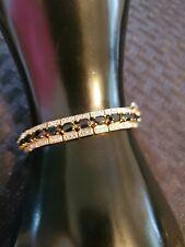"""Vintage Sterling Silver 925 Sapphire Bracelet 7"""" Heavy Beautiful"""