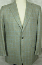NEW Brooks Brothers Made in Italy 100% Silk Gray & Light Blue Sport Coat 41L