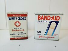 Vintage Johnson and Johnson Band-Aid and White Cross Adhesive Bandage tins