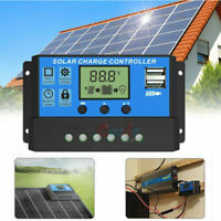 10A 20A 30A Dual USB Solar Charge Controller Panel Battery Regulator 12/24V Auto
