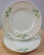 "Belleek Green Shamrock 2 - 7"" Bread Plates 3rd Black Mark Basketweave Vintage"