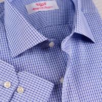Light Blue Mens Formal Business Dress Shirt Plaids & Checks With Bustton Cuff