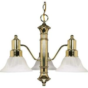 Glomar 3-Light Polished Brass Chandelier with Alabaster Glass Bell Shades HD-194
