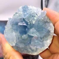 Natural Blue Celestite Crystal Quartz Cluster Geode Specimen Home Decor