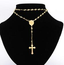 18k Gold Stainless Steel religious Rosary Necklace Fashion Heart Chain Women