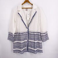 NWT $159 Chico's Embellished White Blue Cotton Eyelet Tunic Jacket Sz 2 L 12/14