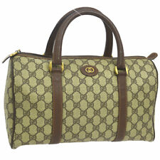 30dc9d9e2 Auth GUCCI GG Boston Hand Bag Brown PVC Leather Italy Vintage BT16531