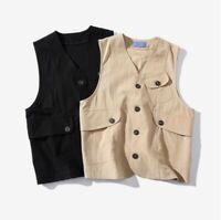 Men's Japanese Vintage Style Vest Waistcoat Sleeveless Single Breasted Jacket