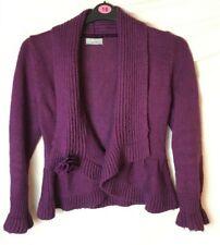 PER UNA M&S Cardigan - Medium 12 14 - Purple knitted Top & Brooch -18% Mohair F