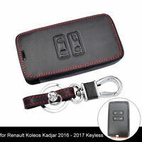 JI_ Leather Case Cover Holder For Renault Koleos Kadjar Remote Smart Key Butto