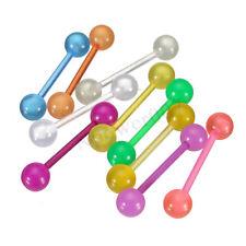 10pcs BULK Colorful Flexible Barbell Stud Tongue Ring Ball Bars Body Piercing