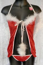 Red Velvet & feather 2 piece sexy Babydoll~Playboy pinup~Santa's helper costume
